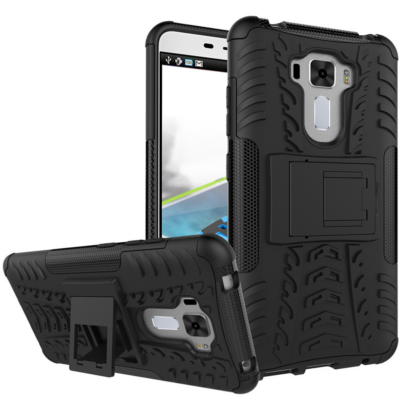 1 for Asus Zenfone 3 Laser ZC551KL 5 5inch Phone Case Dual Layer Kickstand Heavy Duty Armor Shockproof Hybrid Silicone Back Case in Phone Pouches from Cellphones Telecommunications
