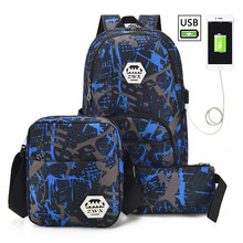 3pcs set boys school bags USB Charging Children waterproof backpack for book bag student schoolbag kids pen pencil
