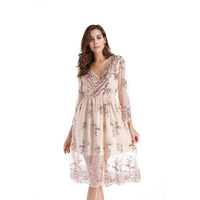 Sexy V Neck Lace Sequined Long Sleeve Summer Dress Women Vintage Festa Bodycon Sundress Brick Party Dresses