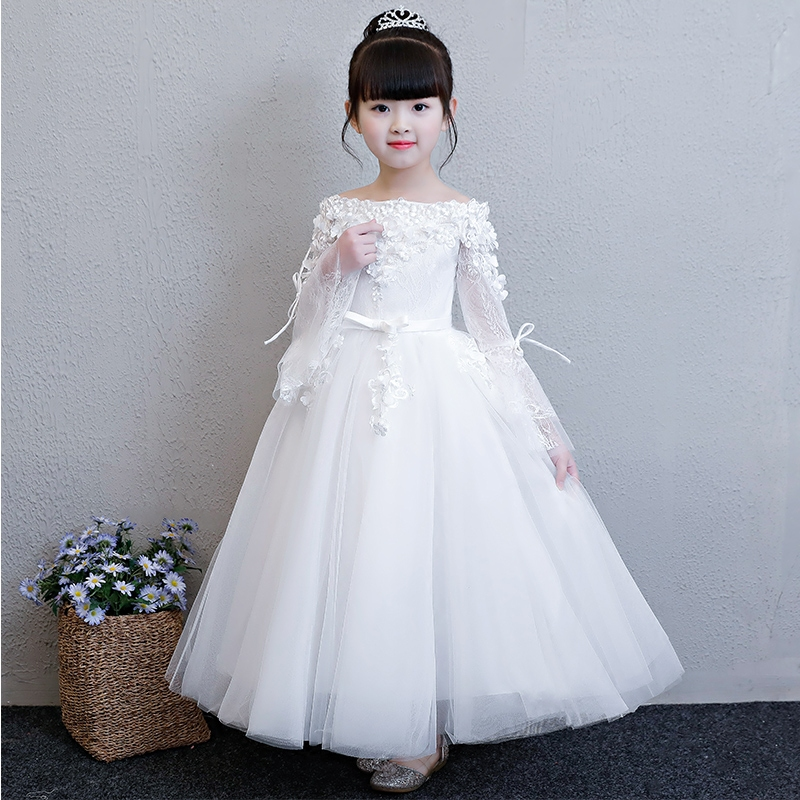 цена на Children Girls Luxury White Color Birthday Wedding Party Flowers Princess Lace Dress Kids Babies Flare Sleeves Pageant Dress