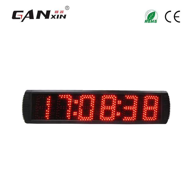 [Ganx]5'' 6 Digits Led Racing Timer With Red Color Large Square Wall Clocks