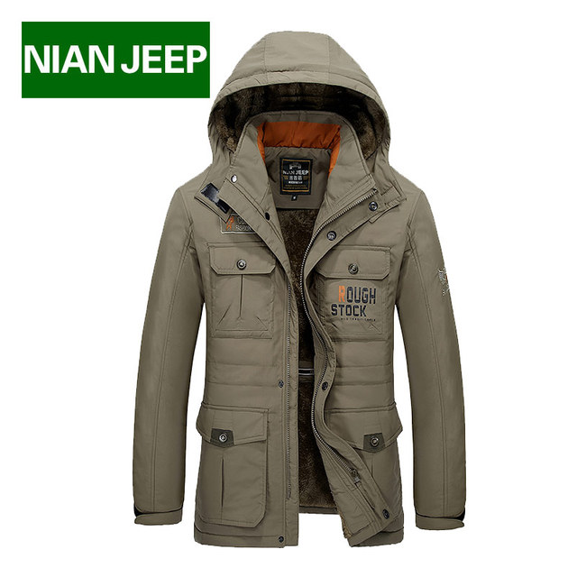 Original Brand NianJeep Winter Coat For Men Jacket Long New 2016 Cotton Thick Warm Soft Breathable Men's Down Jackets