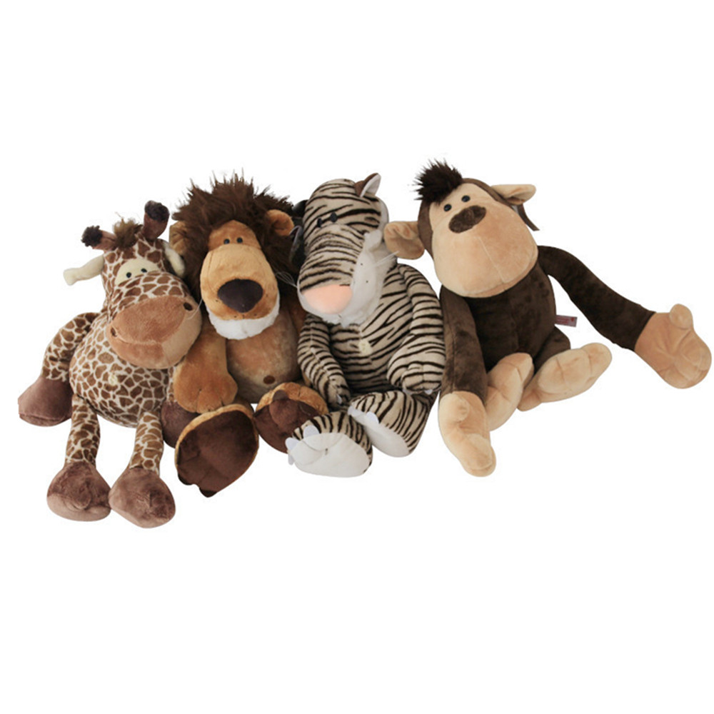 25cm Big Size New Arrival Animal Doll Toy Plush Toys for Children Brinquedo Cartoon Lion Monkey Tiger Deer Stuffed Doll stuffed animal toy monkey doll simulation silver back gorilla dolls plush toys for children