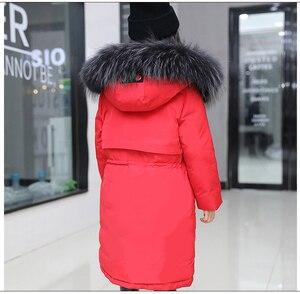 Image 3 - Super Thick Winter Jacket Coats Reversible Girls Fur Hooded Russian Girls Winter Coat Children Jacket Down Parkas Long Overcoat