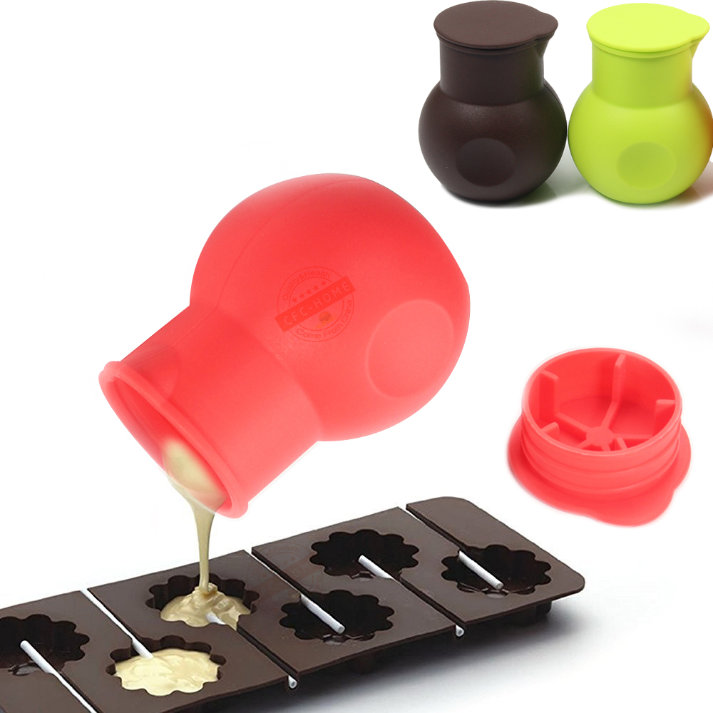 Chocolate Melting Pot Silicone Mould Butter Sauce Milk <font><b>Microwave</b></font> Baking Pouring Kitchen Aid Tools - Red Green chocolate