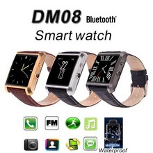 Neue Bluetooth Smart Uhr DM08 DM360 Smartwatch Luxus Leder IPS Business Armbanduhr Für Apple iPhone & Samsung Android-Handy