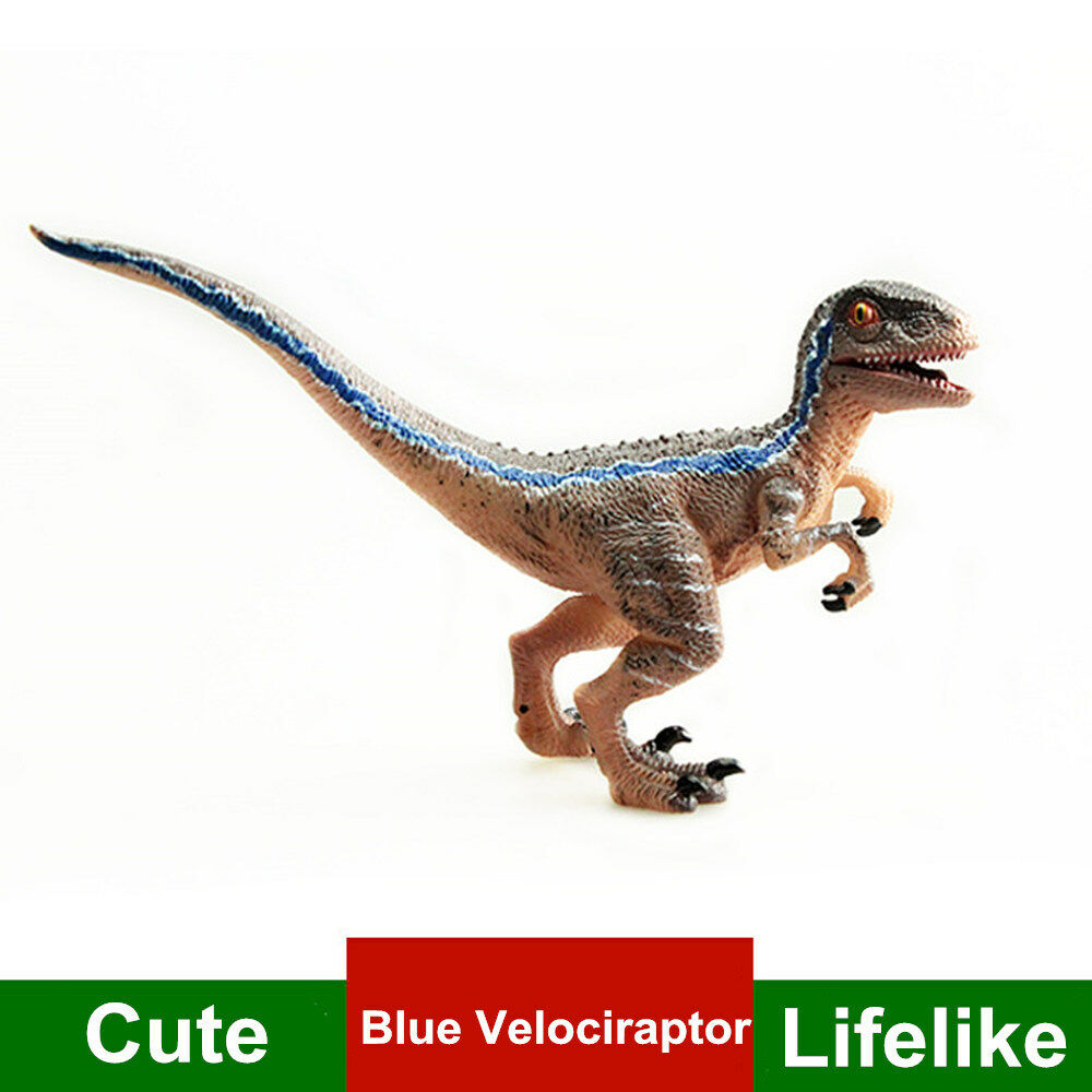 Small Blue Velociraptor Jurassic Dinosaur Figure Animal Model Animal Model Ancient Biological Adult Kids Collection Toy Gift
