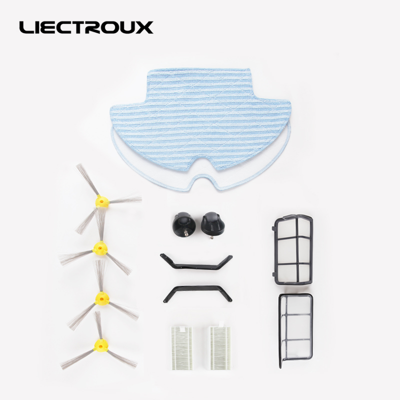 (For Q7000 Q8000 )Spare part for Robot Vacuum Cleaner LIECTROUX Q7000 Q8000 Side Brush,HEPA ,Primary filter,Front wheel,rubber for b6009 liectroux spare part for robot vacuum cleaner including side brush 4pcs 3d hepa filters 2pcs hepa filter 2pcs