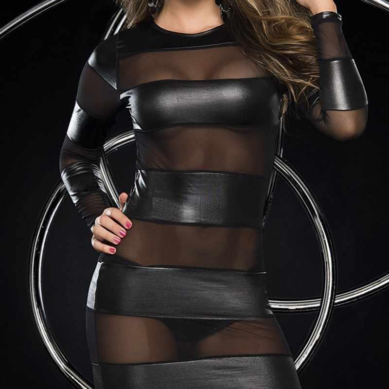 Новые Фирменные женские экзотические платья с длинным рукавом и круглым вырезом в стиле пэчворк, Прозрачная Сексуальная клубная одежда, черное облегающее женское платье