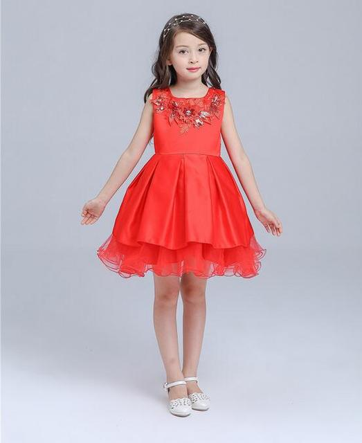 3-12T Brand Red Satin Flower Girl Dress Sequin Princess Tutu Party Wedding  Dresses for 794db52de8e0