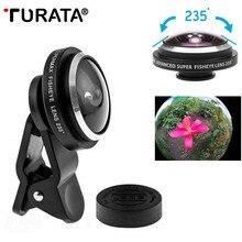 TURATA универсальный зажим 235 градусов супер камера для глаз рыбы объектив рыбий глаз для iPhone 8 76 плюс 5S samsung S9 S8 Xiaomi Объективы для мобильных телефонов