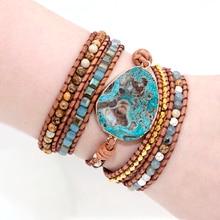 Уникальные смешанные природные камни позолоченный камень Шарм 5 прядей обруча браслеты ручной работы Boho браслет женский кожаный браслет Прямая поставка