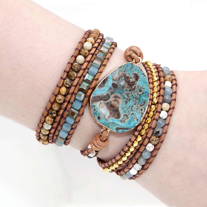 Unique Mixed Natural Stones Gilded Stone Charm 5 Strands Wrap Bracelets Handmade Boho Bracelet Women Leather Bracelet Dropship