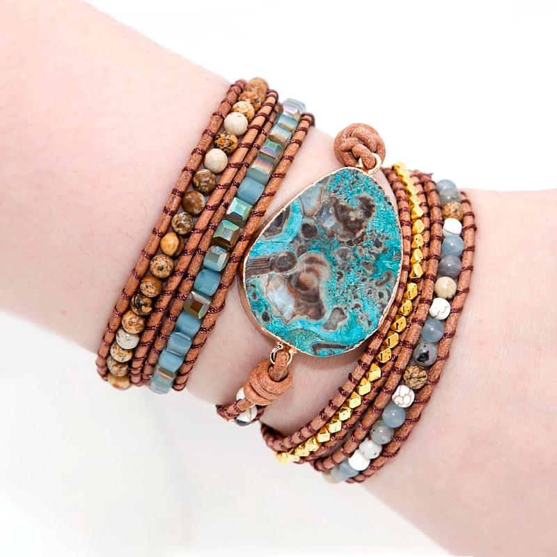Mezcla única de piedras naturales dorado encanto de piedra 5 hilos pulseras hechos a mano Boho de las mujeres de la pulsera de cuero Dropship