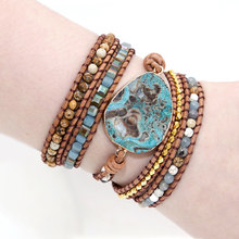 Unique Mixed Natural Stones Gilded Stone Charm 5 Strands Wrap Bracelets Handmade Boho Bracelet Women Leather Bracelet Dropship(China)