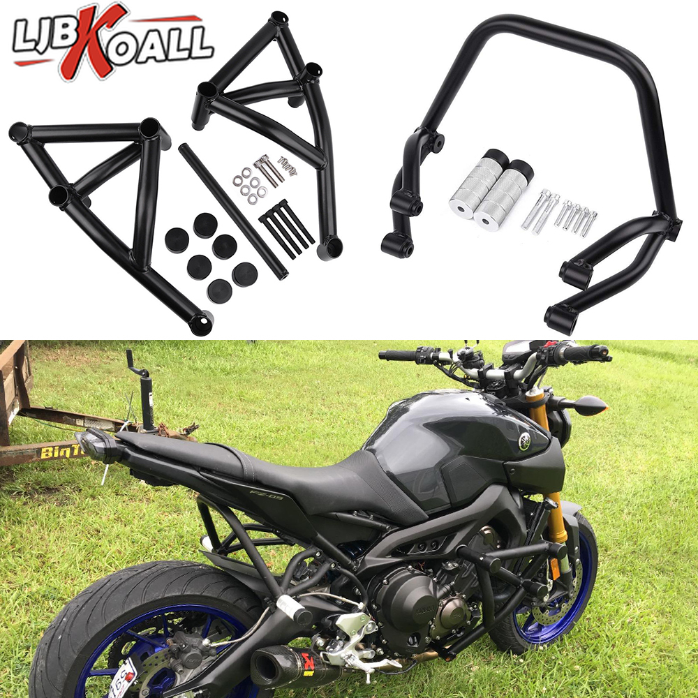 2 Set Stunt Subcage Rear Passenger Peg Protector & Engine Guard Crash Bar for Yamaha MT09 FZ09 Tracer MT 09 FZ 09 2014 2017 2016