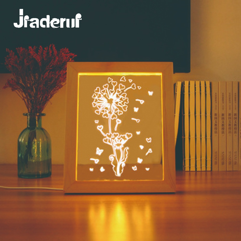 Jiaderui Novelty LED Dandelion Night Light Creative 3D Wood Photo Frame Wall Lamp Decor Home Kids Gift Baby Sleeping Table Lamp novelty 3d full moon lamp led night light usb rechargeable color changing desk table light home decor 8 10 12 15 18 20cm
