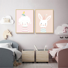 Nordic Poster Kid Room Cartoon Rabbit  Wall Pictures Canvas Pink Baby Girl Art Animal Print Posters Unframed
