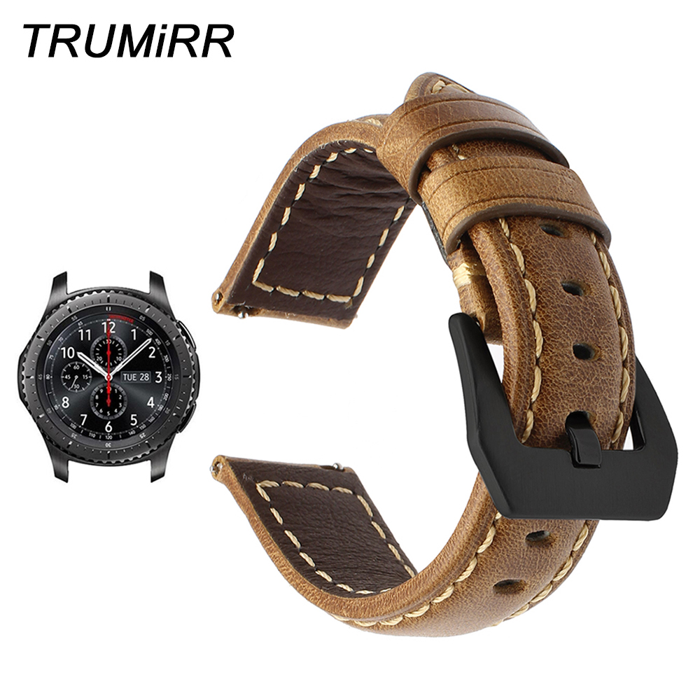 22mm Quick Release Genuine Leather Watchband for Samsung Gear S3 Classic Frontier R760 R770 Smart Watch Band Steel Buckle Strap цена