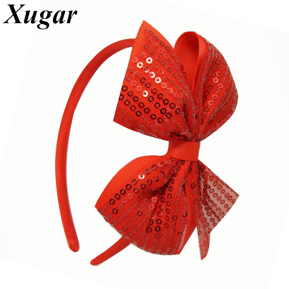 2 Pcs/Lot DIY High Quality Cute Hairbands Sequin Hair Bow For Girls Kids Boutique Ribbon Hair Accessories 4 high quality fashion ribbon hair bow for baby girls sweet boutique rhinestone alligator chips pearl diy hair accessories