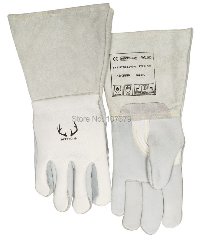 Deerskin Leather Work Gloves TIG MIG Grain Cow Leather Welding Glove leather safety glove deluxe tig mig leather welding glove comfoflex leather driver work glove