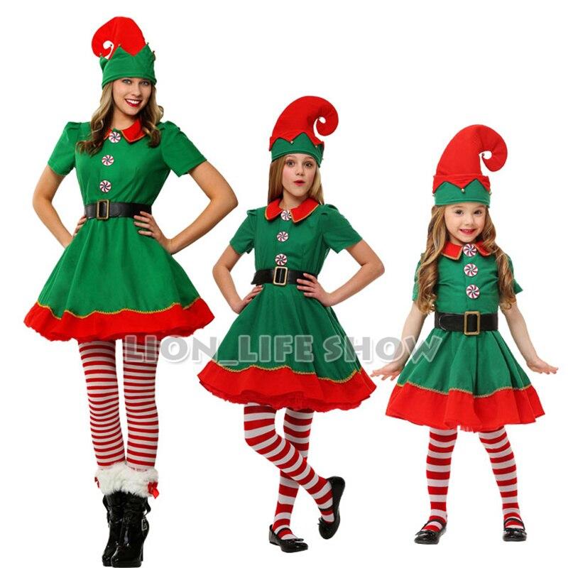 marca nuevo de las mujeres de halloween traje de la navidad de manga larga verde y