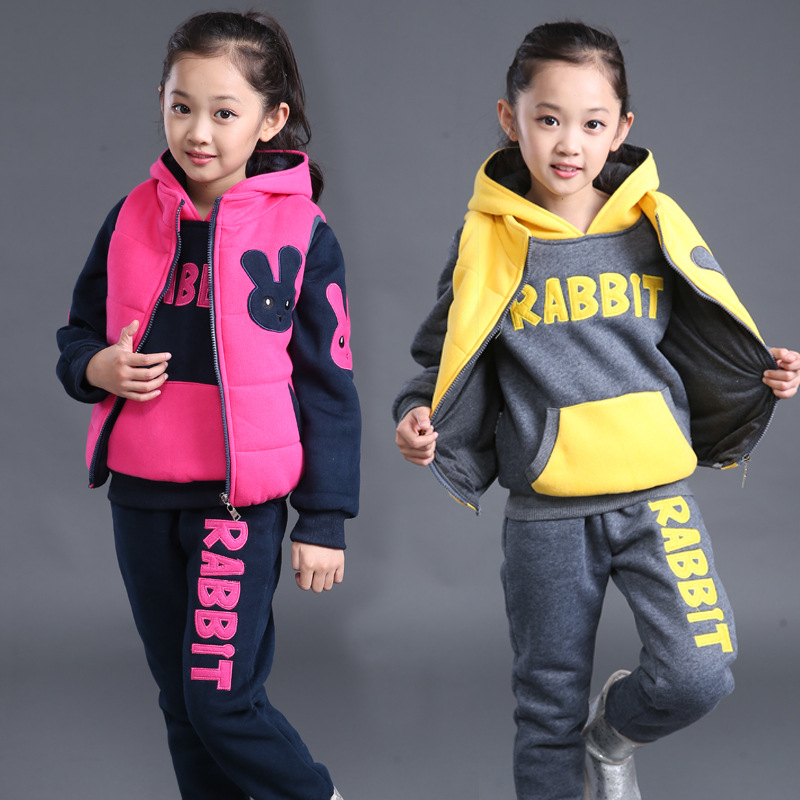 2018 new winter Girls Kids boys plus cashmere thick sweater Vest +coat+ pants three-piece so good quality