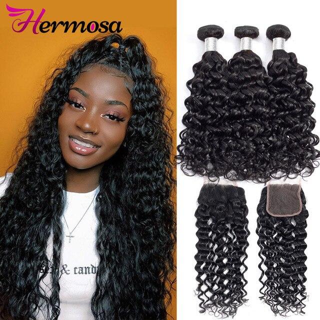 Hermosa שיער מים גל חבילות עם סגירה ברזילאי שיער Weave חבילות עם סגירת רמי שיער טבעי 3 חבילות עם סגירה