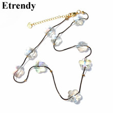 2019 Fashion Clear Crystal Wedding Party Necklace Women Choker Handmade Flower Design Jewelry Top Quality