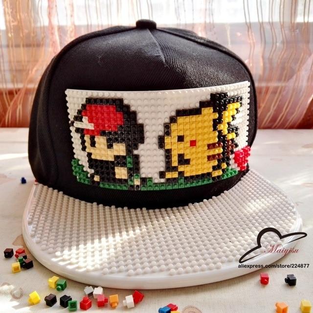 Pokemon Go Detachable blocks building Brick Pikachu  women flat baseball caps hip hop hat and cap for men and women