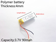 3.7V 90mAh 401030 Lithium Polymer Li-Po li ion Rechargeable Battery cells For Mp3 MP4 MP5 GPS PSP mobile bluetooth