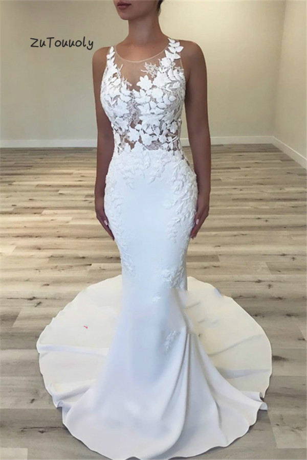 Simple Petite Mermaid Wedding Dresses Uk Sheer Neck Sleeveless Slim Tight Floral Applique Illusion Back Boho Bridal Dress Fitted