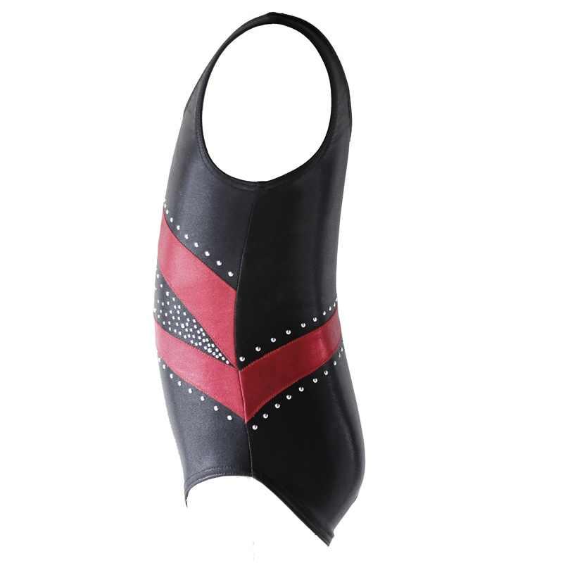 Bé Gái Váy Múa Thể Dục Dụng Cụ Áo Vest Ba Lê Dancewear Bodysuit Áo Sọc Đào Tạo Trang Phục 4-14Y