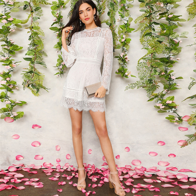 SHEIN Romantic Trumpet Sleeve Floral Lace Mini Dress