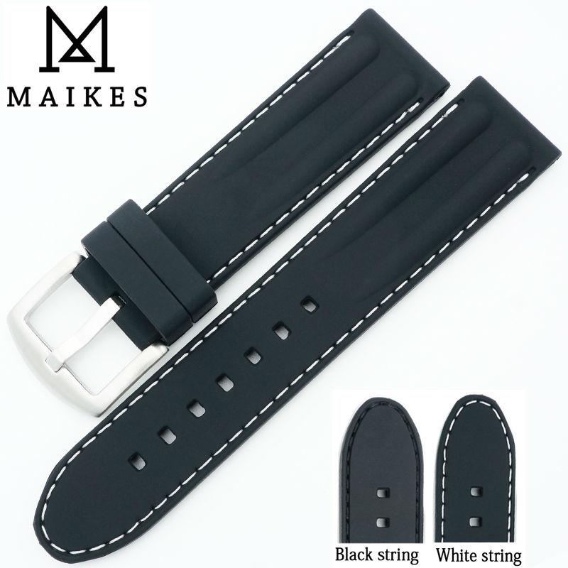 MAIKES 22 mm laikrodžio juosta iš silikono guminių juostų, - Laikrodžių priedai - Nuotrauka 1