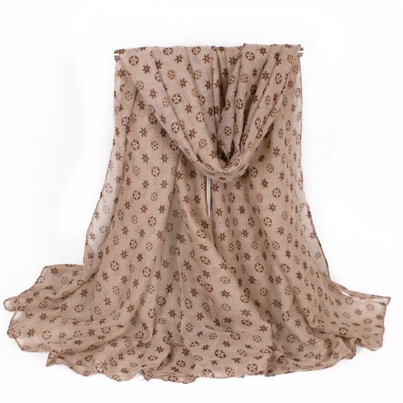 Թեթև թեթև փափուկ կանանց շարֆեր Ձմեռային տաք նորաձևության ընձառյուծի տպագրություն Պոլիեսթեր սուրճ խիտ շալվար շարֆ 180 * 100 սմ