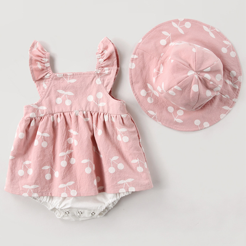 2019 Summer Baby Clothes baby   rompers   New Summer Clothes Fashion cute cherry Prints kids clothing   rompers   dress with hat