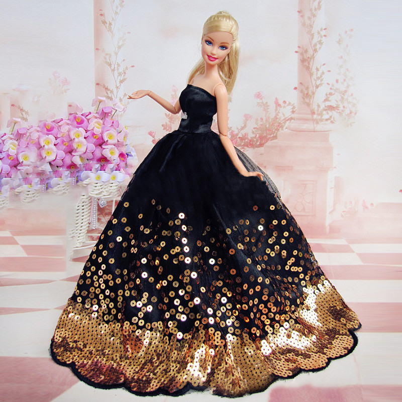 Elegant Black Dress with Lots of Gold Sequins Made to Fit for Barbie font b Doll