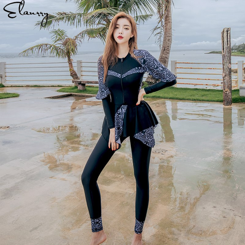 2018 3 Pieces Swimsuit Long Sleeve Swimwear Women Bathing Suit Retro Swimsuit Swim Skirt Surfing Ladies Beach Rashguards