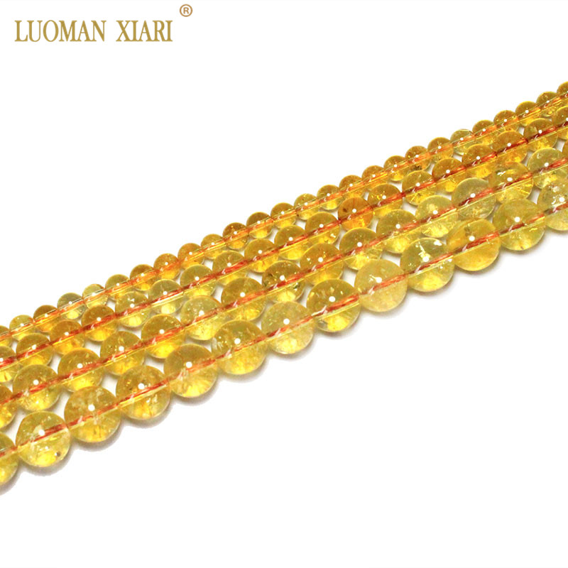 Citrine-Beads Jewelry-Making Quartz Necklace Yellow Fine 100%Natural for Diy 6/8/10/12mm