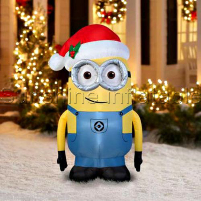 giant airblown christmas inflatable minion one eye double eyes with santa hat for holiday decoration in ball ornaments from home garden on aliexpresscom