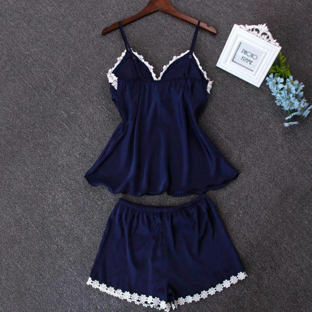 2pcs Set Fashion Pajama Set Sexy Sling Tops Short Pants Outfits