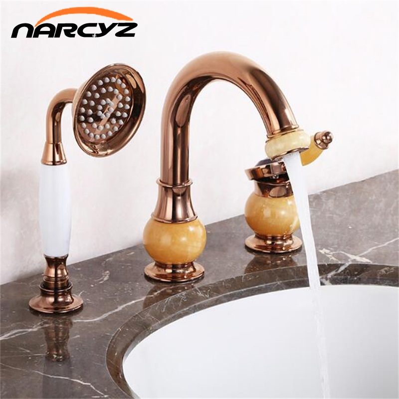 цена Bathtub Faucet Brass Gold Deck Bathroom Sink Faucet Set 3 PCS Ceramic Diamond Handheld Shower Washroom Basin Mixer Tap XR8212