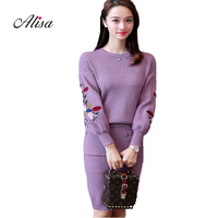 2018 New Women Autumn Winter Knitted Sweater 2 Pcs Set Fashion Embroidery Flower Women Buttocks Skirt Set Korean Female Suit