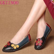 GKTINOO Summer Autumn Fashion Flower Design Round Toe Mix Color Flat Shoes Vintage Genuine Leather Women Flats Girl Loafer