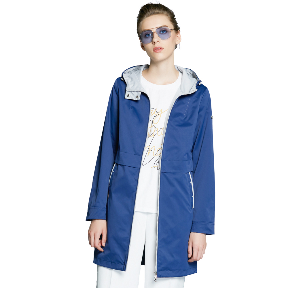 ICEbear 2018 Woman Clothing Solid Color Long Sleeved Casual Women Coat Stand Collar Pockets Fashion Trench Coats 17G122D blue plain lapel collar sleeveless trench coat