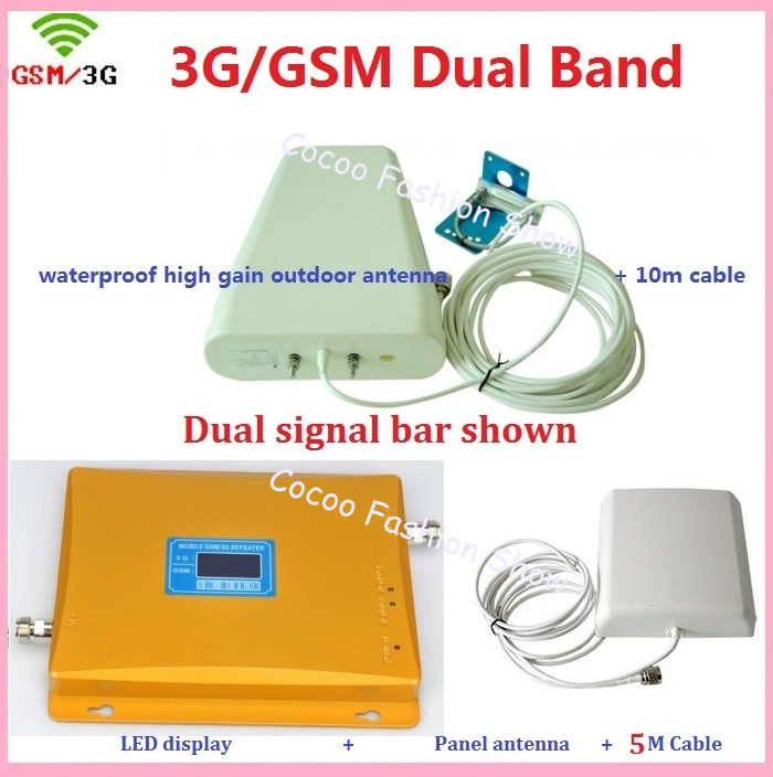 LCD display Dual band 3G GSM Mobile Phone Repeater GSM 900MHz 3G W-CDMA 2100mhz Cellular Signal Amplifier Dual Booster full setsLCD display Dual band 3G GSM Mobile Phone Repeater GSM 900MHz 3G W-CDMA 2100mhz Cellular Signal Amplifier Dual Booster full sets