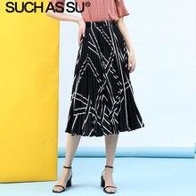 New Chiffon Pleated Skirt Women 2019 Summer Black White High Waist Striped Elastic Single Code Midi Female