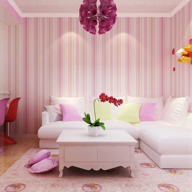 Striped Wallpaper Solid Kids Room Vertical Wall Paper Roll ...