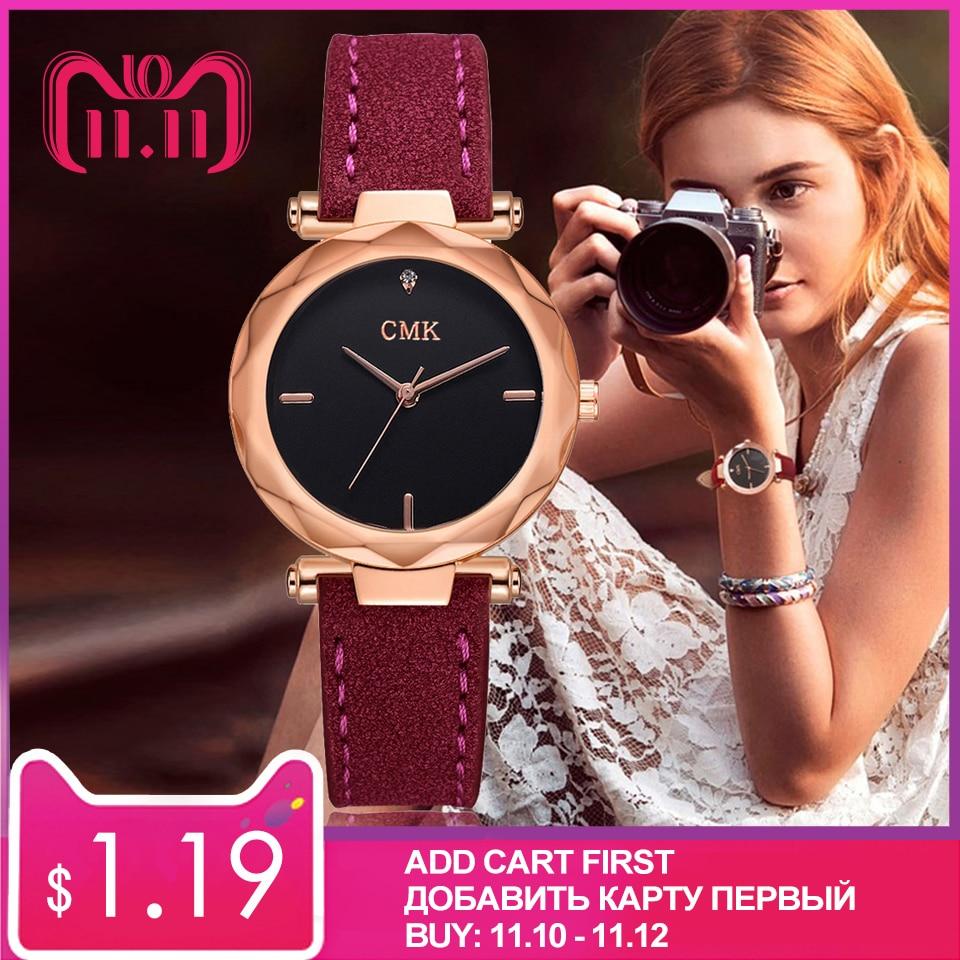 Women Brand Top Luxury Leather Watches Ladies Fashion Rose Gold Dress Quartz Wrist Watch 3D Dial Desgin Bracelet Watch